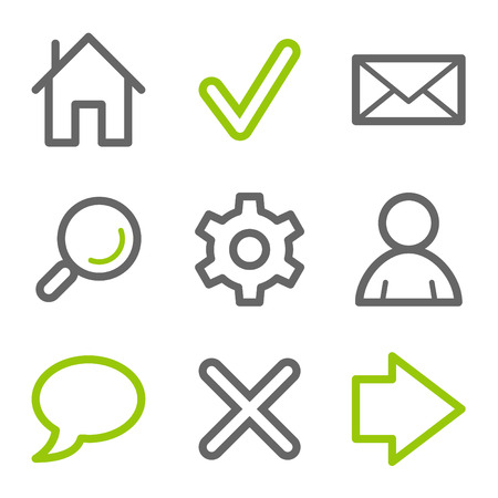 Basic web icons, green and gray contour series Vector