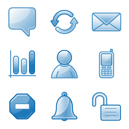 Community web icons, blue alfa series Vector