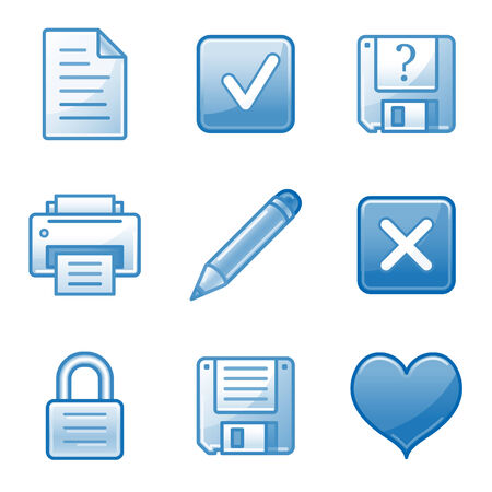 Document web icons, blue alfa series Vector