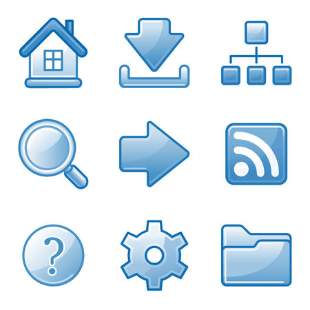 Basic web icons, blue alfa series Vector