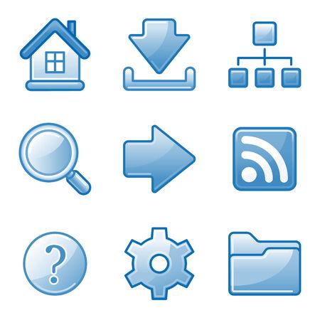 Basic web icons, blue alfa series Vector