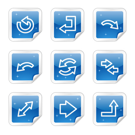 Arrows web icons, blue glossy sticker series Vector
