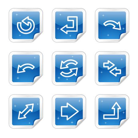 Web Arrows icônes, Blue Series autocollant glacé