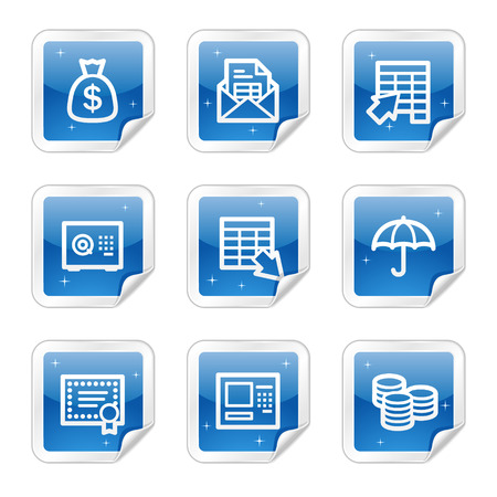 protecting: Banking web icons, blue glossy sticker series Illustration