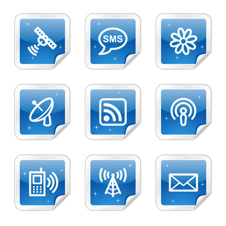 Communication web icons, blue glossy sticker series Vector