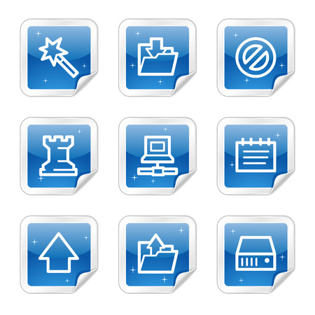 Data web icons, blue glossy sticker series Vector