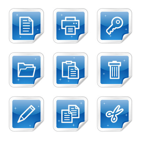 Document web icons, blue glossy sticker series Vector