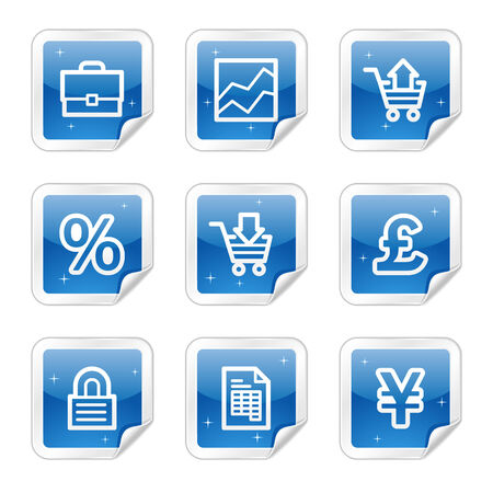 E-business web icons, blue glossy sticker series Vector