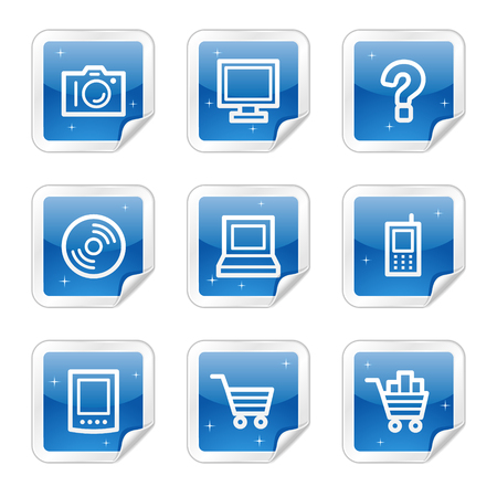 Electronics web icons, blue glossy sticker series Vector