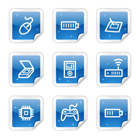 Electronics web icons, blue glossy sticker series set 2 Stock Vector - 4437171