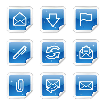E-mail web icons, blue glossy sticker series Vector