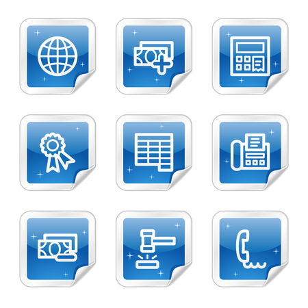 Finance web icons, blue glossy sticker series set 2 Vector