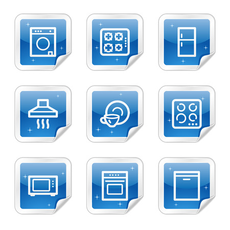 gas laundry: Home appliances web icons, blue glossy sticker series