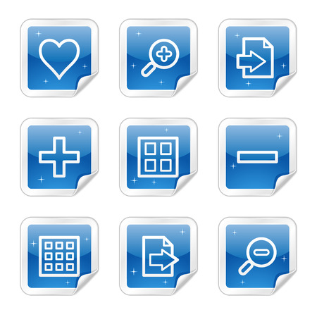 Image viewer web icons, blue glossy sticker series Stock Vector - 4437145