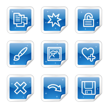 Image viewer web icons, blue glossy sticker series set 2 Vector
