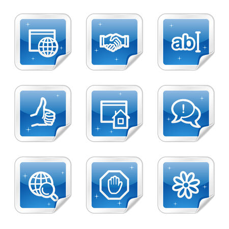 Internet communication web icons, blue glossy sticker series