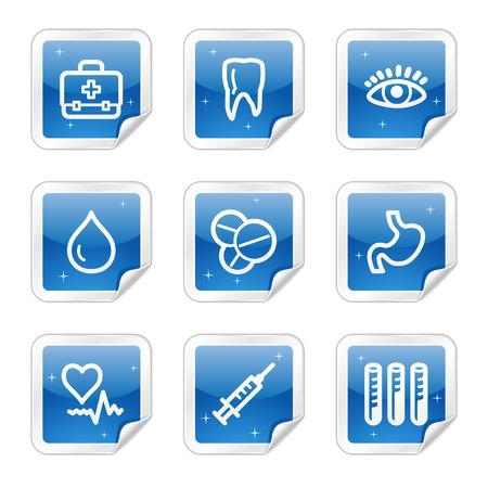Medicine web icons, blue glossy sticker series Stock Vector - 4437170