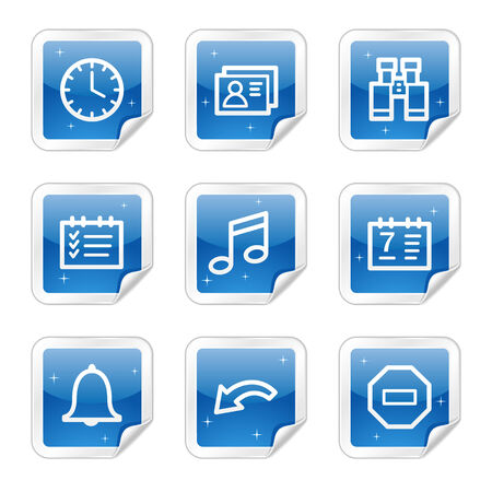 Organizer web icons, blue glossy sticker series Stock Vector - 4437163