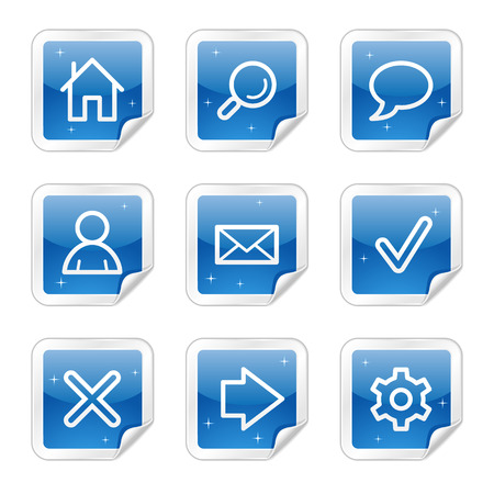 Basic web icons, blue glossy sticker series Vector