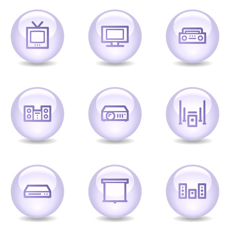 Audio video web icons, glossy pearl series Vector