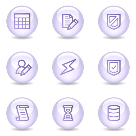 Database web icons, glossy pearl series Vector