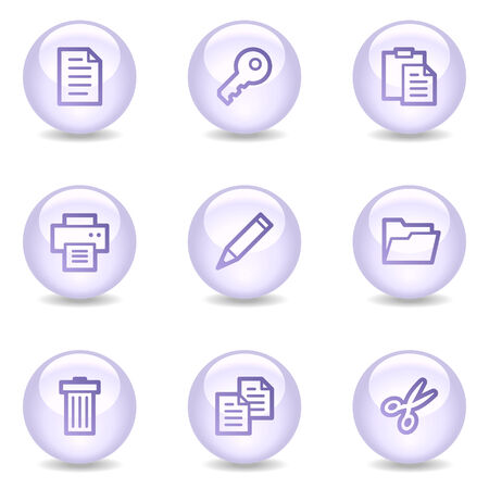 Document web icons, glossy pearl series Vector