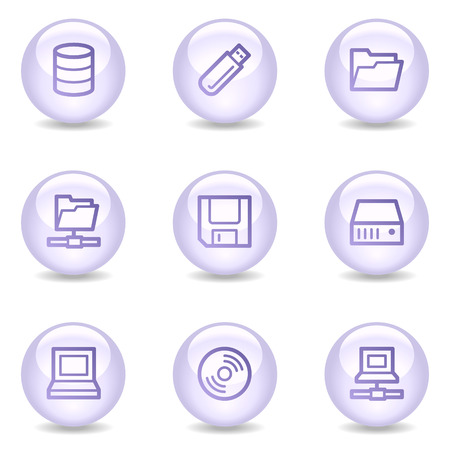 fdd: Drives and storage web icons, glossy pearl series Illustration