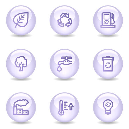 Ecology web icons, glossy pearl series Vector