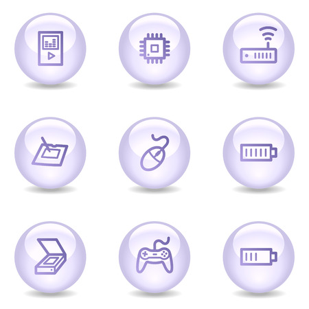 Electronics web icons, glossy pearl series set 2 Vector