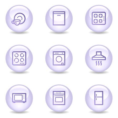 Home appliances web icons, glossy pearl series Vector
