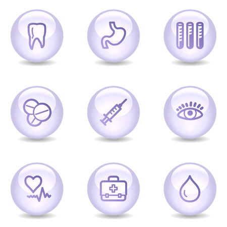 Medicine web icons, glossy pearl series Vector