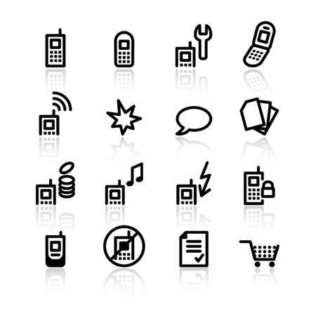 black mobile phone icons Stock Vector - 4488987