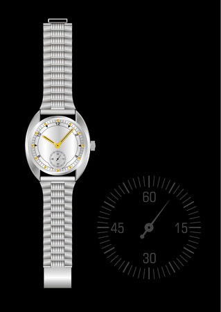 Steel mechanical watch on the black background