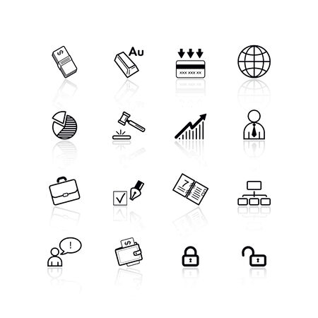 black business icons Stock Vector - 4492932