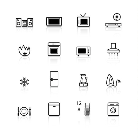 black household appliances icons Vector