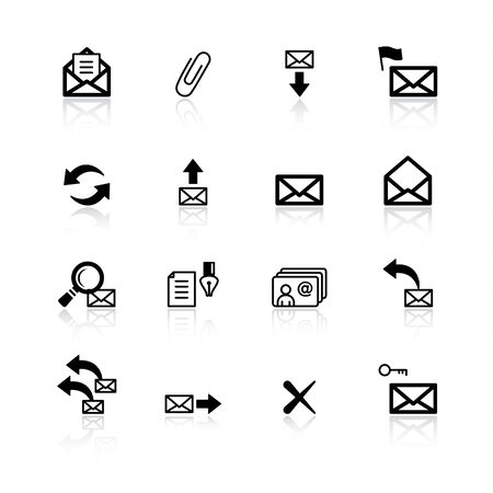 black e-mail icons Vector