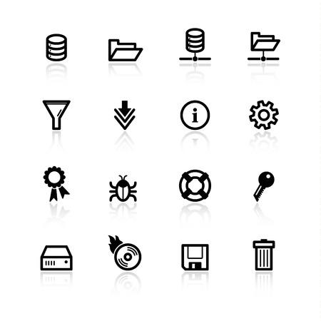 iconos de servidor de archivo negro Ilustración de vector