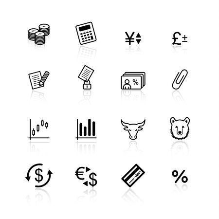 rekenmachine: zwart financiering van iconen