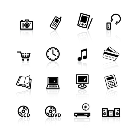 black home electronics icons Vector