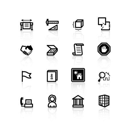 Zwarte gebouw pictogrammen Vector Illustratie