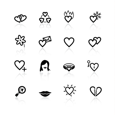 black love and dating icons Vector