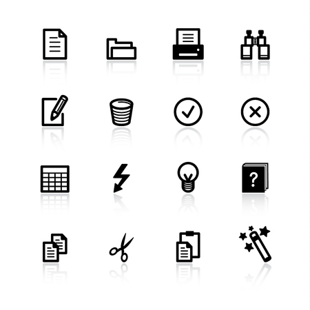 iconos de documentos negros