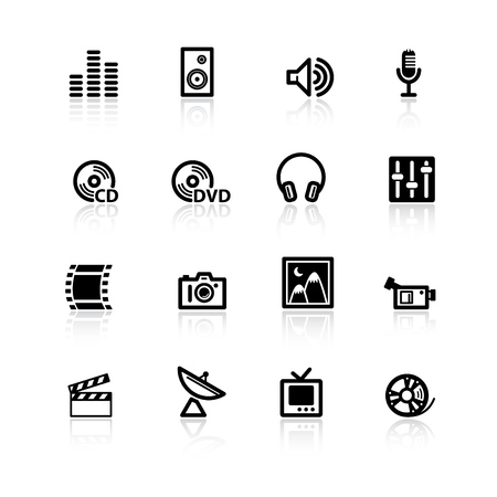sat: black media icons Illustration