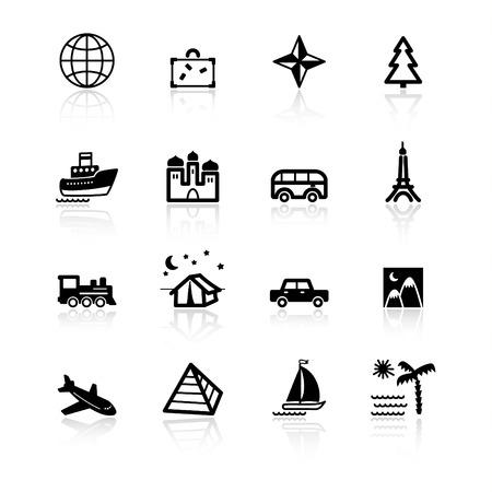 black travel icons Vector