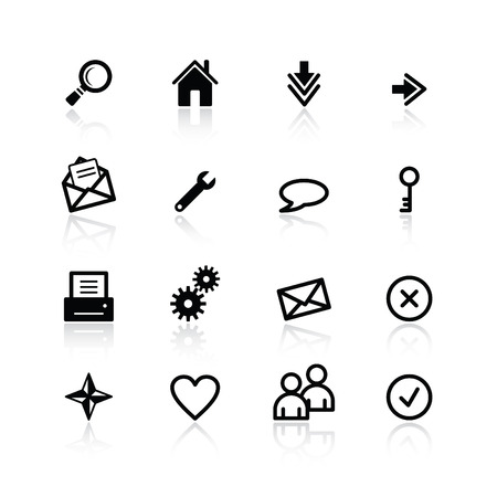 black basic web icons Stock Vector - 4492931