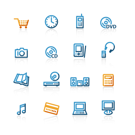mastercard: contour e-commerce icons on the white background