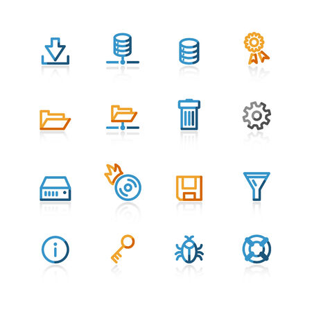 color contour file server icons on the white background Vector