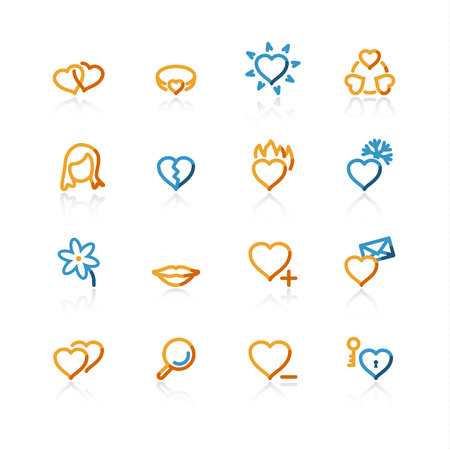 dating icons: color contour love and dating icons on the white