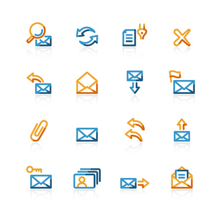webmail: color contour web-mail icons on the white background Illustration