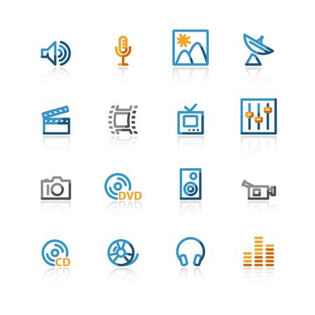hifi: color contour media icons on the white background Illustration